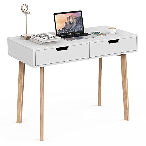 Naspaluro Scrivania per computer, scrivania da ufficio, scrivania per studio con cassetti, in legno per camera da letto, scrivania per casa, ufficio, studio, tavolo da gioco per PC portatile,bianco