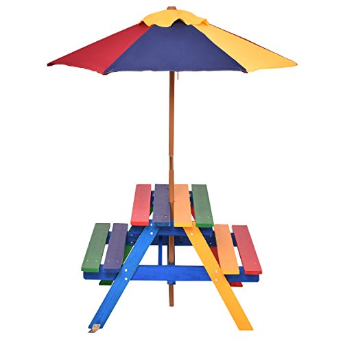 Photo of GYMAX Kids Wooden Picnic Table Bench with Parasol In Rainbow Garden BBQ Furniture Set