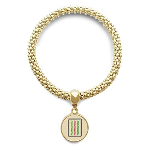 DIYthinker Womens Mahjong Bamboe Bar 9 Tegels Patroon Gouden Armband Ronde Hanger Sieraden Ketting