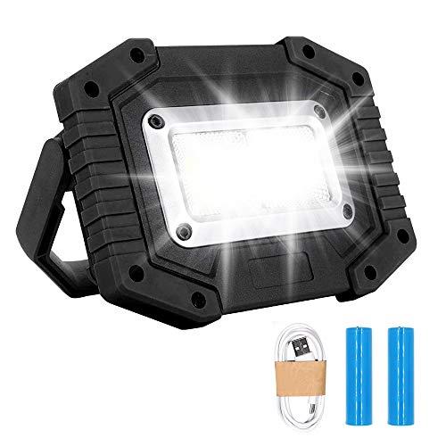 Trongle Lampada da Lavoro Ricaricabile a LED, 3 Modalità di Sicurezza Per Esterni, Con Proiettore COB da 30 W, Impermeabile, Con Porta USB Per Garage, Campeggio, Pesca, Nero (Batterie Incluse)
