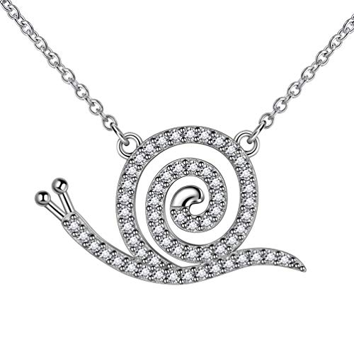 Cubic Zircon Iced Out Animal Snail Necklace for Women Girl 925 Sterling Silver Spiral Necklace Cute Necklace Teenage Girl Jewellery FP0086W