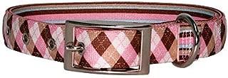 Yellow Dog Design Uptown Collar, Small, Pink/Brown Argyle on Stripes