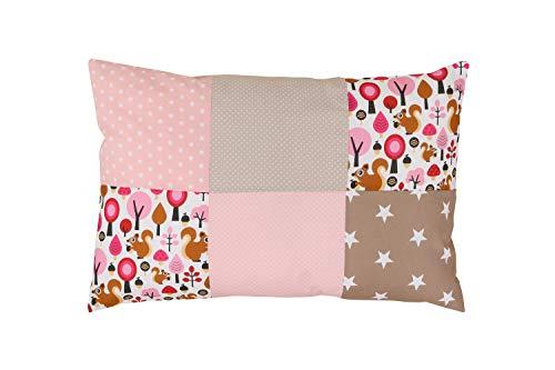 ULLENBOOM ® Baby Patchwork Kissen 40x60 cm Sand Eichhörnchen (Made in EU) - mit weichem Bezug & Füllung, ideal als Kinderkissen, Dekokissen im Kinderzimmer oder zur Deko im Wohnzimmer
