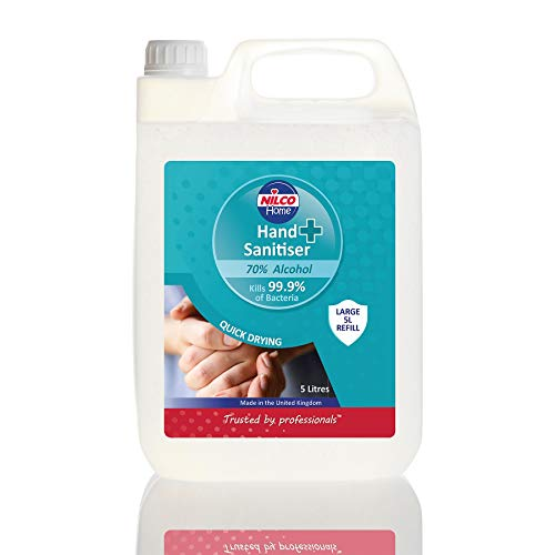 Price comparison product image Nilco Hospital Grade Hand Sanitiser 5 litre pack Alcohol 70% ideal for refill made in the UK
