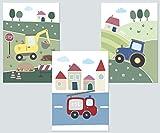 LALELU-Prints 3er Set Poster Kinderzimmer Deko Junge Bilder Fahrzeuge Bagger Traktor Feuerwehr DIN A4 I Babyzimmer Baby I Wandbilder Kinderbilder