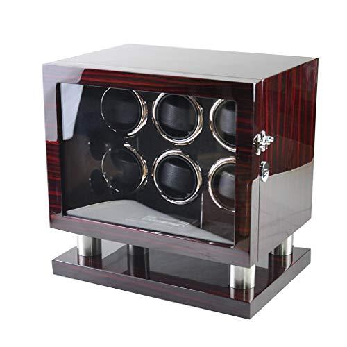 zyy Reloj de madera de lujo automático para 6 relojes, pantalla LCD y luz LED, motor silencioso, caja de almacenamiento de bobinado de reloj, contiene almohada de reloj (color rojo)