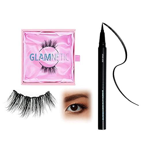 Queen Half Lash + Black Magnetic Eye Liner   Natural Looking Half Lash Set, Short Cat Eye Flared, 6-Magnet Band, Reusable Eyelashes Small Eyes, Up to 60 Wears - 1 Pair