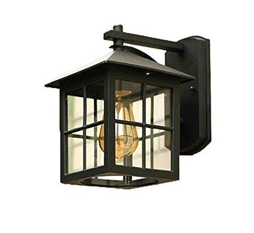 TRADE® Rétro Cheminée carré Noir Célibataire lumière Appliques extérieures Éclairage et Transparent Boîte en verre Acier inoxydable Lampe murale Balcon Garage