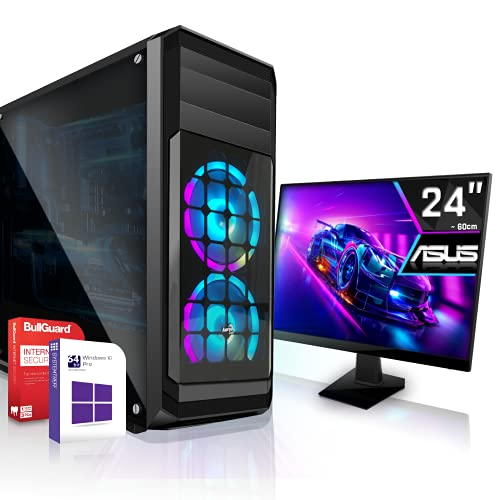 Multimedia PC Komplett Set inkl. Windows 10 Pro 64-Bit! - AMD Quad-Core A10-9700 4 x 3.8 GHz Turbo - AMD Radeon HD R7-16GB DDR4 RAM - 256GB SSD - 24-Zoll TFT Monitor Computer