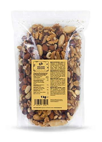 KoRo - mezcla de nueces 1 kg - 100 % natural Nueces preciosas sin sal - mezcla de almendras, nueces de Brasil, anacardos, nueces, avellanas