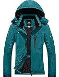 GEMYSE Chaqueta de Esquí Impermeable de Montaña para Mujer Abrigo de Invierno de Lana Antiviento con Capucha (Azul ácido 08,L)