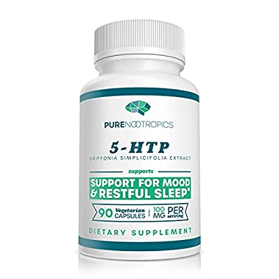 5-HTP by Pure Nootropics - All Natural Cognitive Enhancer & Serotonin Support Supplement | Provides Mood Support, Promotes Restful Sleep, Maintains Healthy Appetite - 90 x 100 mg Vegetarian Capsules