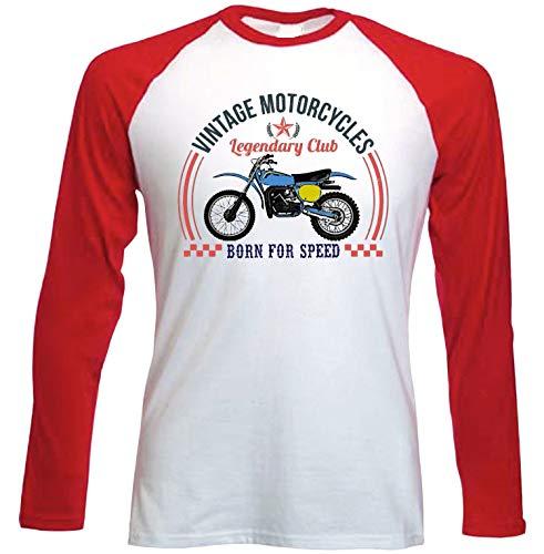 Teesandengines Bultaco pursang mkii 370 Vintage Motorcycles Camiseta de Mangas roja largas t-Shirt Size Large