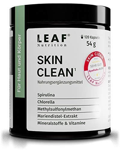 LEAF Nutrition SKIN CLEAN Kapseln vegane Nahrungsergänzung mit Spirulina- & Chlorella-Alge   mit Chrom & Selen für Ihre Haut   für 30 Tage (120 Stück)   nachhaltige Glas-Verpackung & Made in Germany