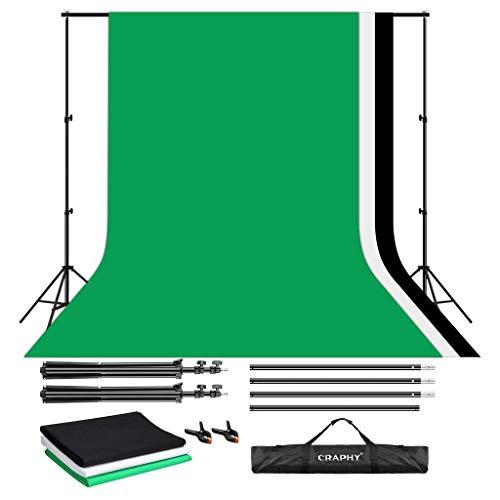 CRAPHY Soportes de Fondo 2 m x 3 m con 1,8 m x 2,8 m Telón de Fondo de Tela (Blanco/Negro/Verde) y 2 Abrazaderas, Backdrop Kit para Fotografía Retrato y Video