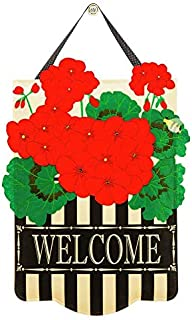 Evergreen Flag Beautiful and Vibrant Geranium Outdoor Safe Felt Door Decor - 14 x 18 inches - Stylish Welcome Sign for You...
