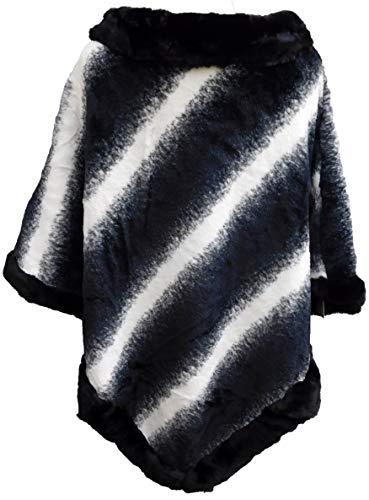 Xuna Moda Damen-Poncho-Umschlagtuch-Umhang-Dreiecktuch-Cape-Faux-gefüttert-Lagenlook-EG (schwarz-weiss-meliert)