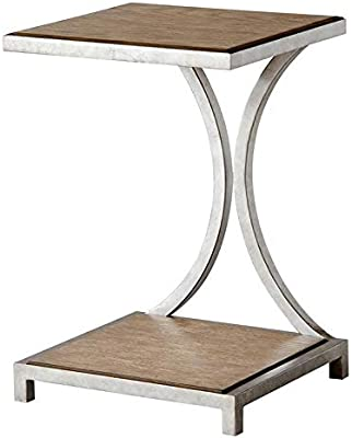 Metal Base End Table - Wood End Table with Curving Lines - Brown