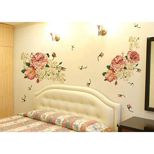 YQTTM Adesivo Murale 70 * 50Cm Deluxe Peonia Fiore Adesivo Art Deco Staccabile