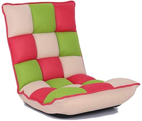 XXT Silla perezosa del sofá del piso se puede ajustar libremente ajustable Tela Célula compartida Cama tatami perezoso sofá individual confortable dormitorio ordenador respaldo abatible Ventana Legles