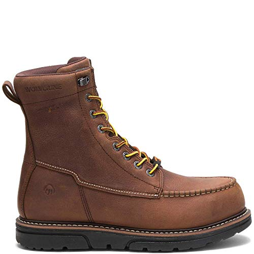 WOLVERINE Men's I-90 DuraShocks Moc-Toe CarbonMax 8' Work Boot Industrial brown Size: 7.5 X-Wide