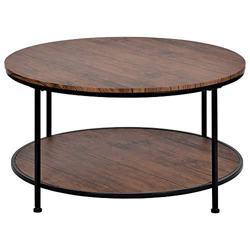 Mesa redonda de café, mesa auxiliar de té estilo industrial, soporte de TV, marco de metal duradero, para sala de estar, color marrón rústico
