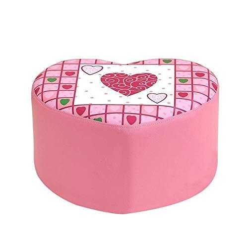 HEWEI Voetbank Roze Schoenen Bench Children's Prinses Kruk Zachte Tas Kleine Sofa Kruk Groen Leer Cartoon Liefde Kruk LEBAO (kleur : Roze) roze