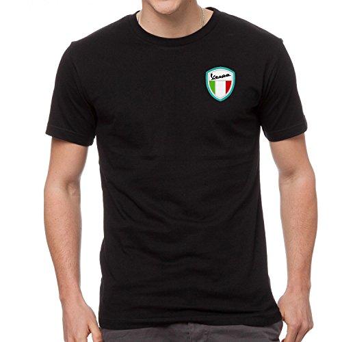 Vespa Scooter Bestickte T-Shirt super Premium-Qualität, 100% Baumwolle -4085-SCHWARZ (M)