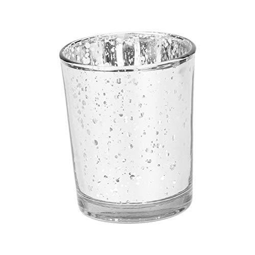 Portacandele moderno in vetro con candelabro Candela votiva romantica globo candeliere Lampada da terra Prop Decorazione di nozzeLuce - Mosaico argento, A1