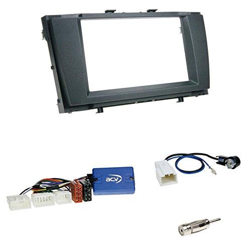 Einbauset: Doppel-DIN 2-DIN Blende/Radioblende Abdeckung - schwarz + Pioneer Radio LFB Lenkrad Interface Radio Adapter für Toyota Avensis (T27) 01/2009 – 2011