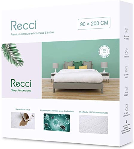 Recci Bamboo Mattress Protector, Mattress Cover, Incontinence Pad in Various Sizes, Bamboo, White, 90 x 200 cm