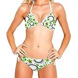 ATOMO Happy Bee Green Flower Mujeres Bikinis Bikini Set Natación