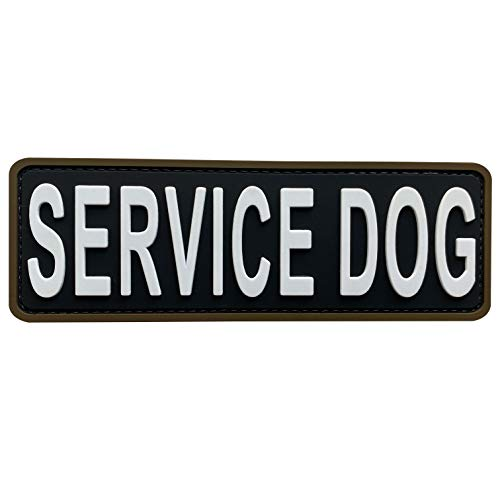 uuKen Service Dog Patch Black and White 6x2 inches Hook Back K9 Working Dog in Training PVC Military Tactical for Tactical Vest Harness K9 Collar (Black and White, 6'x2')