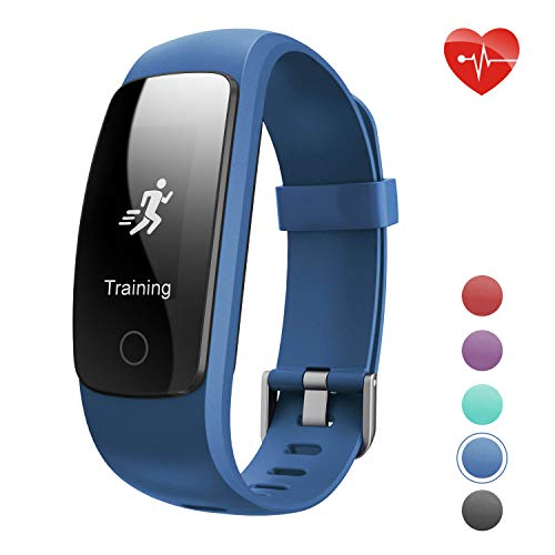 Fitness Tracker HR,Teslasz T107Plus Bluetooth 4.0 Pedometer with Heart Rate Monitor Auto Sleep Monitor Activity Tracker for Android iOS Smart Phone (Blue)