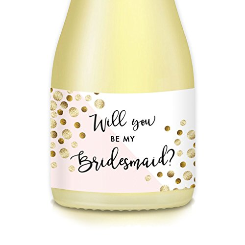 "Bride Wedding Proposal Mini Champagne Bottle Labels Bachelorette, Engagement Party, Will You Be My? Bridesmaid Maid Matron of Honor 3.5"" x 1.75"" Set of 10 Pink, Gold Bubbly Decals, Gift Boxes & Bags"