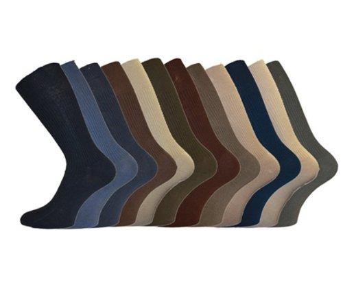 i-Smalls Herren Aler 12er Pack Baumwolle Lockerer Handgriff Business Socken (Mischung) 39-45
