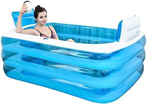 Blue Color Inflatable Bath Tub Plastic Portable Foldable Bathtub Soaking Bathtub Home SPA Bath Equip With Electric Air Pump (Size : 180cm)