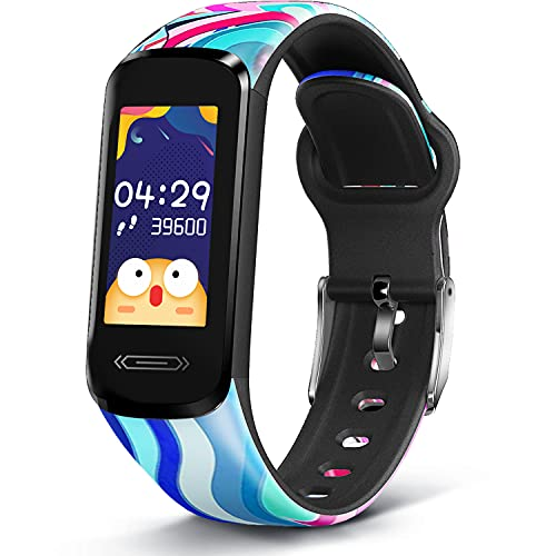 MorePro Slim Kids Fitness Tracker with 6 Sport Modes, Body Temperature DIY Screen Smart Watch with Heart Rate Blood Pressure Sleep Monitor, IP68 Waterproof Pedometer for Teens Boys Girls.