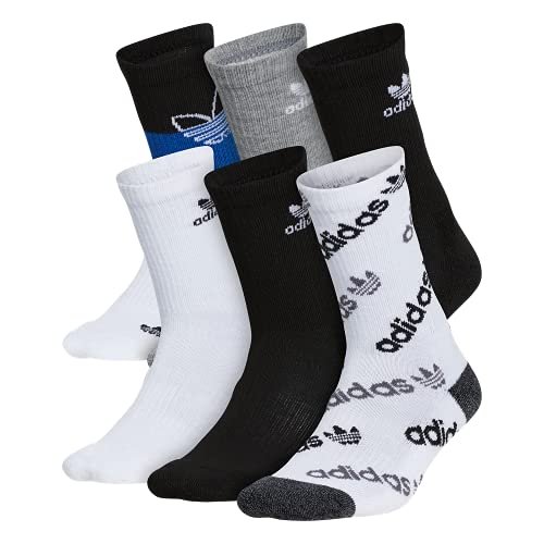 adidas Originals Calcetines unisex para niños y niñas (6 pares), Unisex, Calcetines, EV7751B, Blanco/Negro/Onix/Negro - Onix Marl/ Team Royal Blue, Large