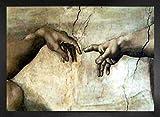 1art1 Michelangelo Buonarroti Póster Impresión Artística con Marco (Madera DM) - Creazione Adamo (particolare) (70 x 50cm)