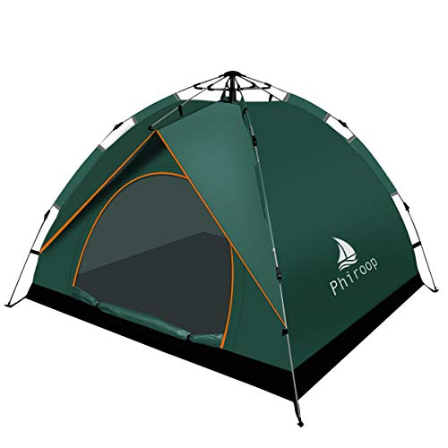 Phiroop Camping Tent Hydraulic Pop Up Automatic Instant for 2/3/4 Person Family Portable Lightweight Waterproof Essential Gear with Carry Bag & Rain Fly (Green)