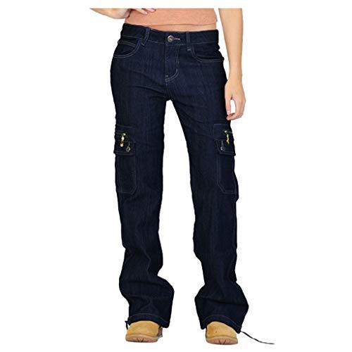 Xmiral Jeans Damen Breites Bein Denim Cargohose Große Größe Multi-Tasche Latzhose Taste Reißverschluss Länge Hosen Jogginghose(Schwarz,M)