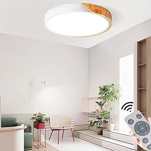 60W Lámpara de techo LED Regulable Plafon Techo Led Redonda Iluminación interior para Dormitorio Comedor Cocina Balcón Marco de Concha Blanco [Clase de eficiencia energética A++]