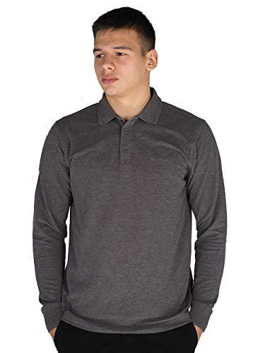 Pierre Cardin Homme Polo T-shirt à Manches Longues et Coupe classique (2XL, Charcoal Marl)