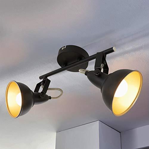 Depuley Vintage Deckenstahler Wandspot Einstellbar, E14 Fassung (Glühbirne nicht ink.) LED Deckenleuchte aus Metall Schwarz Gold Doppelkopf für Wohnzimmer Schlafzimmer Büro Flur Galerie Studio