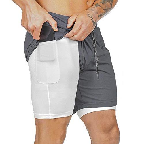 heekpek Shorts Deportivos Fitness Hombre Pantalón Corto Pantalones Cortos Deportivos para Correr Compresión Interna Secado Rápido Transpirable con Forro de Bolsillo al Aire Libre