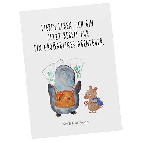Mr. & Mrs. Panda Grußkarte, Karte, Postkarte Pinguin & Maus Wanderer mit Spruch - Farbe Weiß