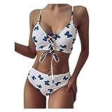 Bikini triángulo de dos piezas para mujer, estampado floral, espalda descubierta, tirantes cruzados push-up, cintura baja, pantalones de bikini