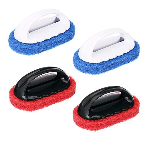 Reinigungsschwamm mit Griff, 4 Stück, für Badewanne, Fliesen, Reinigungsschwamm, Bürste für Küche, Badezimmer, Reinigungszubehör