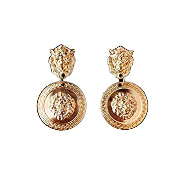 Doubnine Lion Head Earrings Big Coin Gold Circle Dangle Baroque Animal Earrings Vintage 80 s Women Accessories Gift
